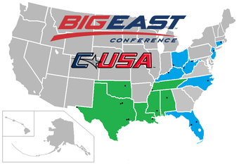 A map illustrating a possible merger of the Big East and Conference USA for football.