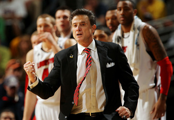 DENVER, CO - MARCH 17:  Head coach Rick Pitino of the Louisville Cardinals gestures from the sidelines against the Morehead State Eagles during the second round of the 2011 NCAA men's basketball tournament at Pepsi Center on March 17, 2011 in Denver, Colo