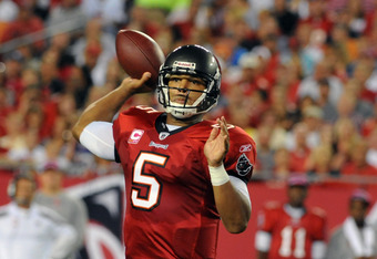 TAMPA, FL - OCTOBER 3:  Quarterback Josh Freeman #5 of the Tampa Bay Buccaneers passes against the Indianapolis Colts October 3, 2011 at Raymond James Stadium in Tampa, Florida. (Photo by Al Messerschmidt/Getty Images)