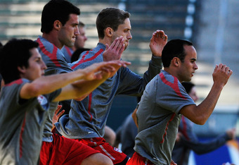 CARSON, CA - AUGUST 31:  Midfielder Landon Donovan (R) Clarence Goodson (C) and Chris Pontius of US Men's National Team during training at The Home Depot Center on August 31, 2011 in Carson, California. United States will play Costa Rica in friendly socce