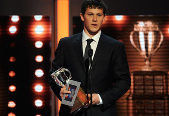 Jeff Skinner accepts the Calder Trophy. Will Mark Scheifele get the opportunity to win the award in 2012?