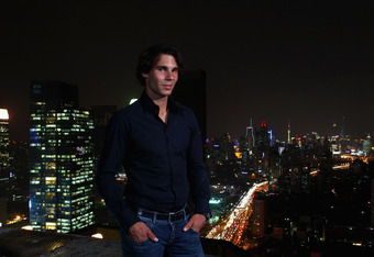 SHANGHAI, CHINA - OCTOBER 11:  Rafael Nadal attends Bacardi Limited 'Champions Drink Responsibly' event at the Hilton Hotel on October 11, 2011 in Shanghai, China. (Photo by Clive Brunskill/Getty Images for Bacardi)