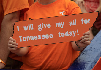GAINESVILLE, FL - SEPTEMBER 17:  A fan holds a sign in support of the Tennessee Volunteers before the game against the Florida Gators at Ben Hill Griffin Stadium on September 17, 2011 in Gainesville, Florida.  (Photo by Sam Greenwood/Getty Images)