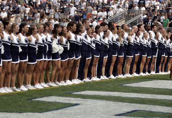 STATE COLLEGE, PA - SEPTEMBER 3:  Penn State cheerleaders line up for the National Anthem before the start of the game between the Penn State Nittany Lions and the Indiana State Sycamores on September 3, 2011 at Beaver Stadium in State College, Pennsylvan