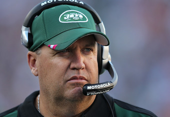 FOXBORO, MA - OCTOBER 9:   Rex Ryan of the New York Jets paces the sidelines moments before the start of a game with the New England Patriots at Gillette Stadium on October 9, 2011 in Foxboro, Massachusetts. (Photo by Jim Rogash/Getty Images)