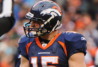 DENVER, CO - OCTOBER 9: Tim Tebow #15 of the Denver Broncos reacts to a play against the San Diego Chargers at Sports Authority Field at Mile High on October 9, 2011 in Denver, Colorado.  (Photo by Bart Young/Getty Images)