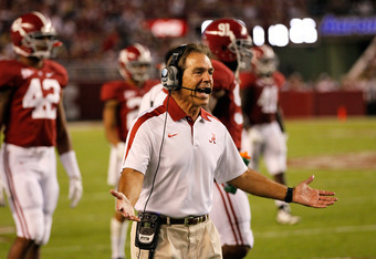 TUSCALOOSA, AL - OCTOBER 08:  Head coach Nick Saban of the Alabama Crimson Tide questions the officials during the game against the Vanderbilt Commodores at Bryant-Denny Stadium on October 8, 2011 in Tuscaloosa, Alabama.  (Photo by Kevin C. Cox/Getty Imag