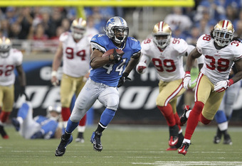 DETROIT - OCTOBER 16:  Jahvid Best #44 of the Detroit Lions runs for a 36 yard gain after a short pass from quarterback Matthew Stafford #9 during the NFL game against the San Francisco 49ers at Ford Field on October 16, 2011 in Detroit, Michigan. The 49e