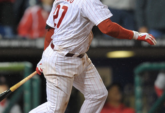 PHILADELPHIA, PA - OCTOBER 02: Placido Polanco #27 of the Philadelphia Phillies bats during Game Two of the National League Division Series against the St. Louis Cardinals at Citizens Bank Park on October 2, 2011 in Philadelphia, Pennsylvania. The Cardina