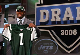 NEW YORK - APRIL 26:  Vernon Gholston poses for a photo after being selected as the sixth overall pick by the New York Jets during the 2008 NFL Draft on April 26, 2008 at Radio City Music Hall in April 26, 2008 in New York City.  (Photo by Jim McIsaac/Get