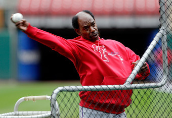 ST LOUIS, MO - OCTOBER 18:  Manager Ron Washington of the Texas Rangers pitches during batting practice at Busch Stadium on October 18, 2011 in St Louis, Missouri. The Texas Rangers will take on the St. Louis Cardinals in Game One of the 2011 World Series