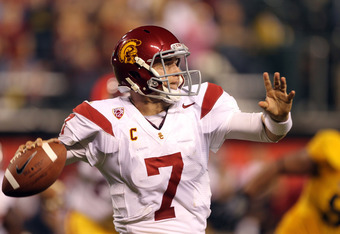 SAN FRANCISCO, CA - OCTOBER 13:  Matt Barkley #7 of the USC Trojans passes the ball against the California Golden Bears at AT&T Park on October 13, 2011 in San Francisco, California.  (Photo by Ezra Shaw/Getty Images)