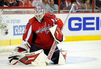 WASHINGTON, DC - OCTOBER 15:  Tomas Vokoun #29 of the Washington Capitals makes a save against the Ottawa Senators in the second period at Verizon Center on October 15, 2011 in Washington, DC.  (Photo by Patrick McDermott/Getty Images)