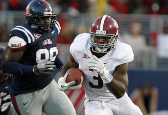 OXFORD, MS - OCTOBER 15:  Running back Trent Richardson #3 of the Alabama Crimson Tide runs for a first down against Mississippi on October 15, 2011 at Vaught- Hemingway Stadium in Oxford, Mississippi. (Photo by Butch Dill/Getty Images)