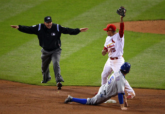 Ian Kinsler steals second base in the ninth inning of Game 2.