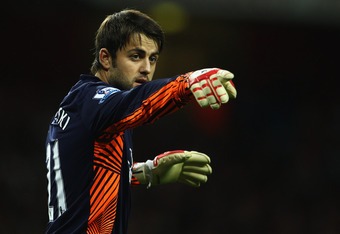LONDON, ENGLAND - SEPTEMBER 20:  Lukasz Fabianski of Arsenal points during the Carling Cup Third Round match between Arsenal and Shrewsbury Town at Emirates Stadium on September 20, 2011 in London, England.  (Photo by Julian Finney/Getty Images)