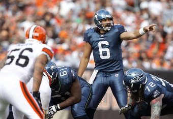 CLEVELAND, OH - OCTOBER 23:  Quarterback Charlie Whitehurst #6 of the Seattle Seahawks directs his team against the Cleveland Browns at Cleveland Browns Stadium on October 23, 2011 in Cleveland, Ohio.  (Photo by Matt Sullivan/Getty Images)