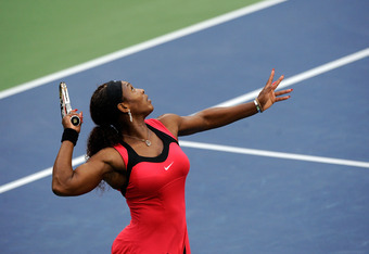 NEW YORK, NY - SEPTEMBER 11:  Serena Williams of the United States serves against Samantha Stosur of Australia during the Women's Singles Final on Day Fourteen of the 2011 US Open at the USTA Billie Jean King National Tennis Center on September 11, 2011 i