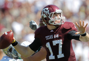 COLLEGE STATION, TX - OCTOBER 15: Ryan Tannehill #17 of the Texas A&M Aggies looks to pass during a game against the Baylor Bears at Kyle Field on October 15, 2011 in College Station, Texas. The Texas A&M Aggies defeated the Baylor Bears 55-28. (Photo by
