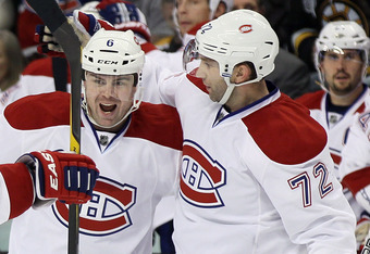 BOSTON, MA - OCTOBER 27:  Erik Cole #72 of the Montreal Canadiens and Jaroslav Spacek #6 celebrate the goal in the second period against the Boston Bruins on October 27, 2011 at TD Garden in Boston, Massachusetts.  (Photo by Elsa/Getty Images)