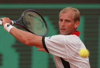 11 JUN 1995:  THOMAS MUSTER OF AUSTRIA HITS A BACKHAND RETURN AGAINST MICHAEL CHANG OF THE USA IN THE MENS SINGLES FINAL MATCH AT THE FRENCH OPEN TENNIS AT ROLAND GARROS STADIUM, PARIS. MUSTER WON THE MATCH IN THREE SETS 7-5, 6-2, 6-4  TO TAKE THE FRENCHO