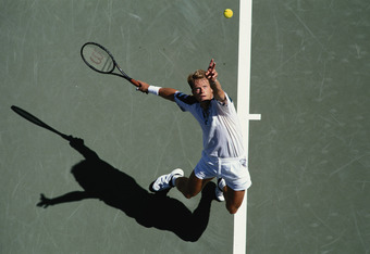 Stefan Edberg of Sweden during his Men's Singles first round match against Lars Jonsson at the U.S.Open Tennis Championship on 30th August 1994 at the USTA National Tennis Center in the Flushing neighbourhood of Queens in New York, United States (Photo by