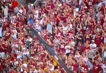 Redskins fans give Art Monk a 5-minute standing ovation at the 2008 Hall of Fame induction ceremony in Canton, Ohio. Photo by Mike Frandsen.