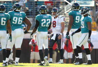JACKSONVILLE, FL - NOVEMBER 14:  Matt Schaub #8 of the Houston Texans walks back to the huddle a pass during a game against the Jacksonville Jaguars at EverBank Field on November 14, 2010 in Jacksonville, Florida.  (Photo by Mike Ehrmann/Getty Images)