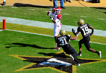 Jarius Wright with the touchdown catch.