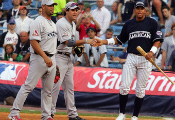 NEW YORK - JULY 14: (L-R) Alberto Pujols of the St Louis Cardinals, Lance Berkman of the Houston Astros and Alex Rodriguez of the New York Yankees talk during batting practice for the 2008 MLB All-Star game at Yankee Stadium on July 14, 2008 in the Bronx