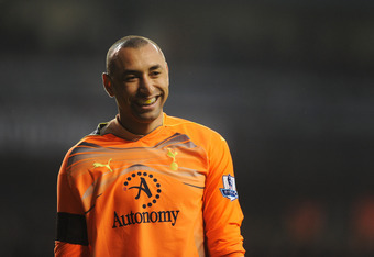 LONDON, ENGLAND - DECEMBER 28: Goalkeeper Heurelho Gomes of Tottenham Hotspur smiles during the Barclays Premier League match between Tottenham Hotspur and Newcastle United at White Hart Lane on December 28, 2010 in London, England.  (Photo by Michael Reg