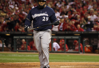 ST LOUIS, MO - OCTOBER 14:  Prince Fielder #28 of the Milwaukee Brewers walks back to the dugout after he struck out in the top of the eighth inning against the St. Louis Cardinals during Game Five of the National League Championship Series at Busch Stadi
