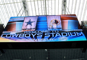 ARLINGTON, TX - SEPTEMBER 26:  A general view of the scoreboard at Cowboys Stadium on September 26, 2011 in Arlington, Texas.  (Photo by Ronald Martinez/Getty Images)