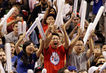 PHILADELPHIA, PA - APRIL 24: Philadelphia 76ers fans cheer during the second half of their 86-82 win over the Miami Heat in Game Four of the Eastern Conference Quarterfinals in the 2011 NBA Playoffs at Wells Fargo Center on April 24, 2011 in Philadelphia,