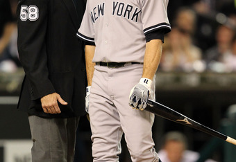 DETROIT, MI - OCTOBER 04:  Brett Gardner #11 of the New York Yankees reacts after a called third strike in the third inning of Game Four of the American League Division Series against the Detroit Tigers at Comerica Park on October 4, 2011 in Detroit, Mich