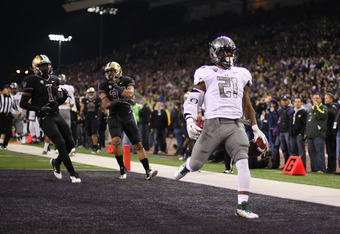 Oregon running back LaMichael James rushed for a season high of 156 yards against the Huskies