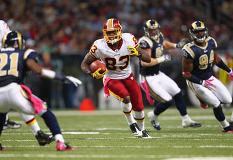ST. LOUIS, MO - OCTOBER 02: Fred Davis #83 of the Washington Redskins makes a catch against the St. Louis Rams at the Edward Jones Dome on October 2, 2011 in St. Louis, Missouri.  The Washington Redskins beat the St. Louis Rams 17-10.  (Photo by Dilip Vis