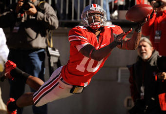 COLUMBUS, OH - NOVEMBER 5:  Corey Brown #10 of the Ohio State Buckeyes is unable to hold on to this pass in the end zone in the first half against the Indiana Hoosiers at Ohio Stadium on November 5, 2011 in Columbus, Ohio.  (Photo by Jamie Sabau/Getty Ima
