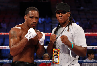 LAS VEGAS, NV - JULY 23:  James Kirkland poses with trainer Ann Wolfe after defeating Alexis Hloros by second round TKO in their middleweight bout at Mandalay Bay Events Center on July 23, 2011 in Las Vegas, Nevada.  (Photo by Scott Heavey/Getty Images)