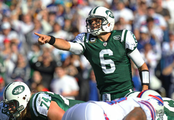 ORCHARD PARK, NY - NOVEMBER 6: Mark Sanchez #6 of the New York Jets calls an audible during NFL game action against the Buffalo Bills at Ralph Wilson Stadium on November 6, 2011 in Orchard Park, New York. (Photo by Tom Szczerbowski/Getty Images)