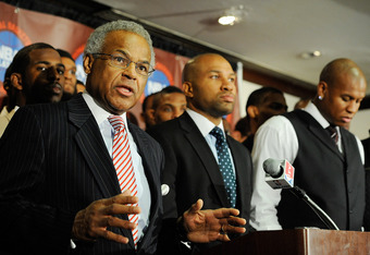 NEW YORK, NY - NOVEMBER 08:  Billy Hunter (L), Executive Director of the National Basketball Players Association speaks next to Derek Fisher (C), President of the National Basketball Players Association at a press conference after the NBPA held a meeting