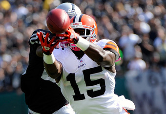 OAKLAND, CA - OCTOBER 16:  Greg Little #15 of the Cleveland Browns has this pass go off his fingertips while guarded by DeMarcus Van Dyke #23 of the Oakland Raiders in the second quarter of a NFL football game at O.co Coliseum on October 16, 2011 in Oakla