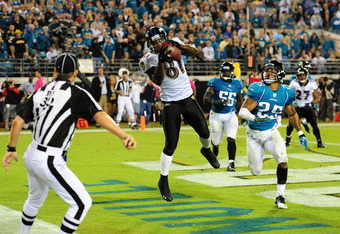 JACKSONVILLE, FL - OCTOBER 24:  Anquan Boldin #81 of the Baltimore Ravens makes a catch for a fourth quarter touchdown against the Jacksonville Jaguars at EverBank Field on October 24, 2011 in Jacksonville, Florida. (Photo by Scott Cunningham/Getty Images