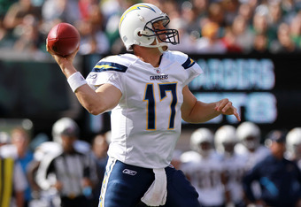 EAST RUTHERFORD, NJ - OCTOBER 23: Philip Rivers #17 of the San Diego Chargers passes against the New York Jets at MetLife Stadium on October 23, 2011 in East Rutherford, New Jersey.  (Photo by Nick Laham/Getty Images)