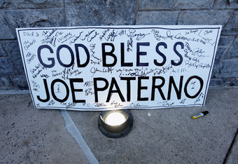 STATE COLLEGE, PA - NOVEMBER 12: A 'God Bless Joe Paterno' sign is seen outside Beaver Stadium before the start of the NCAA football game between Penn State and Nebraska in the wake of the Jerry Sandusky scandal on November 12, 2011 in State College, Penn