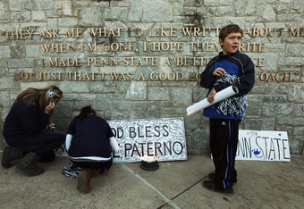 STATE COLLEGE, PA - NOVEMBER 12:    Penn State fans scrawl messages for Joe Paterno outside Beaver Stadium after the Penn State vs. Nebraska NCAA football game in the wake of the Jerry Sandusky scandal on November 12, 2011 in State College, Pennsylvania.
