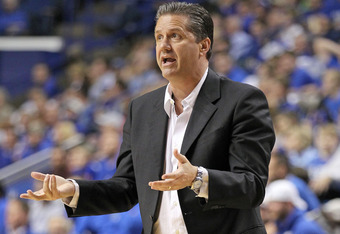LEXINGTON, KY - NOVEMBER 07:  John Calipari the Head Coach of the Kentucky Wildcats gives instructions to his team during the game against the Morehouse Maroon Tigers at Rupp Arena on November 7, 2011 in Lexington, Kentucky.  (Photo by Andy Lyons/Getty Im