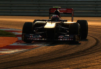 NOIDA, INDIA - OCTOBER 30:  Jaime Alguersuari of Spain and Scuderia Toro Rosso drives during the Indian Formula One Grand Prix at the Buddh International Circuit on October 30, 2011 in Noida, India.  (Photo by Clive Mason/Getty Images)