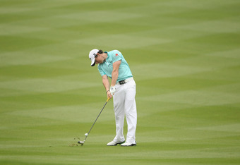 SHANGHAI, CHINA - NOVEMBER 05:  (EDITORS NOTE: Swing Sequence, Image 9 of 13) Rory McIlroy of Northern Ireland in action during the third round of the WGC-HSBC Champions at Sheshan International Golf Club on November 5, 2011 in Shanghai, China.  (Photo by