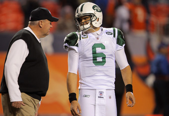 Rex Ryan and Mark Sanchez during the game at the Denver Broncos